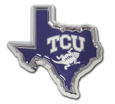 TCU Texas Shape Purple Chrome Emblem