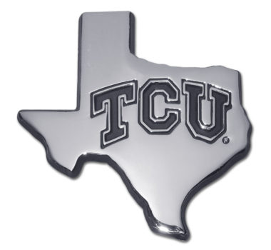 TCU Texas Shape Chrome Emblem