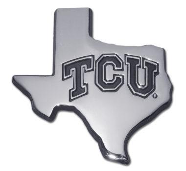 TCU Texas Shape Chrome Emblem