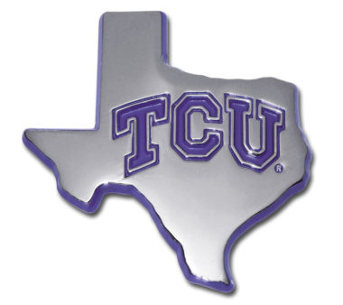 TCU Texas Shape Purple Chrome Emblem