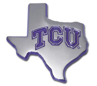 TCU Texas Shape Purple Chrome Emblem image