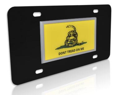 Don't Tread Flag Black License Plate