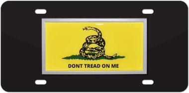 Don't Tread Flag Black License Plate image