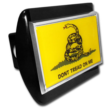 Dont Tread On Me Flag Emblem on Black Hitch Cover