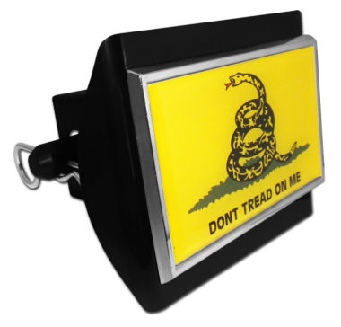 Dont Tread On Me Flag Emblem on Black Plastic Hitch Cover