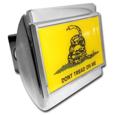 Dont Tread On Me Flag Emblem on Chrome Hitch Cover image