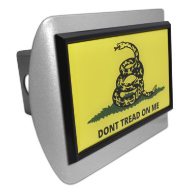 Dont Tread On Me Flag Black Emblem on Brushed Hitch Cover image