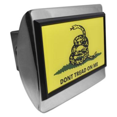 Don't Tread On Me Flag Black Emblem on Chrome Hitch Cover