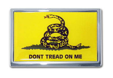 Dont Tread On Me Flag Chrome Emblem