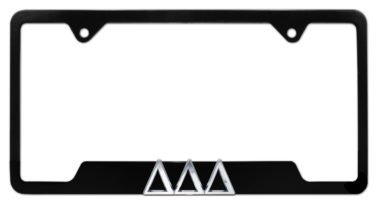 Tri Delt Black Open License Plate Frame
