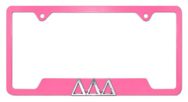 Tri Delt Pink Open License Plate Frame