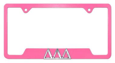 Tri Delt Pink Open License Plate Frame