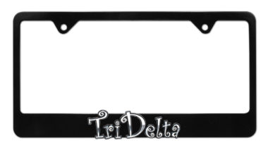 Tri Delta Black License Plate Frame