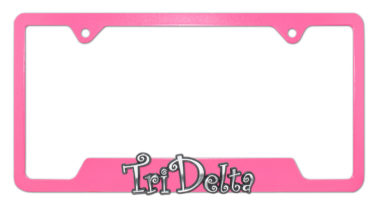 Tri Delta Sorority Script Pink Open License Plate Frame