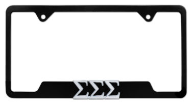 Tri Sig Sorority Black Open License Plate Frame