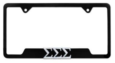 Tri Sig Sorority Black Open License Plate Frame