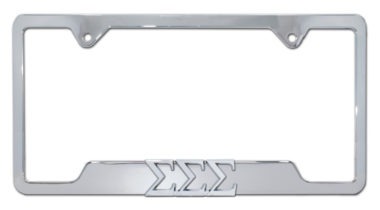 Tri Sig Sorority Chrome Open License Plate Frame