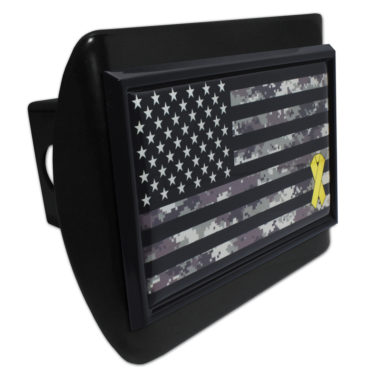 Charitable Support Our Troops Camo Flag Black Hitch Cover
