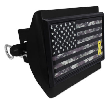 Charitable Support Our Troops Camo Flag Plastic Hitch Cover image