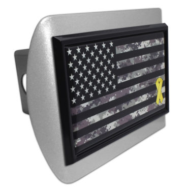 Charitable Support Our Troops Camo Flag Brushed Hitch Cover