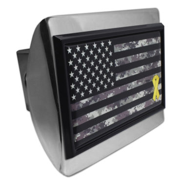 Charitable Support Our Troops Camo Flag Chrome Hitch Cover image
