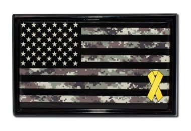 Charitable Support Our Troops Camo Flag with Black Metal Frame