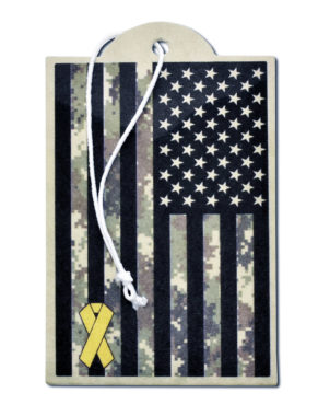 Charitable Support Our Troops Camo Flag Air Freshener - 6 Pack image