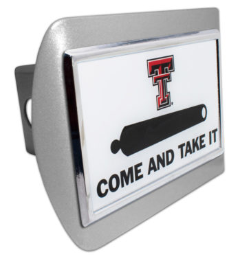 Texas Tech Cannon Emblem on Brushed Hitch Cover