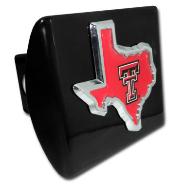 Texas Tech State Shape Emblem on Black Hitch Cover