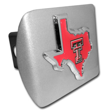 Texas Tech State Shape Emblem on Brushed Hitch Cover