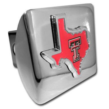 Texas Tech State Shape Emblem on Chrome Hitch Cover