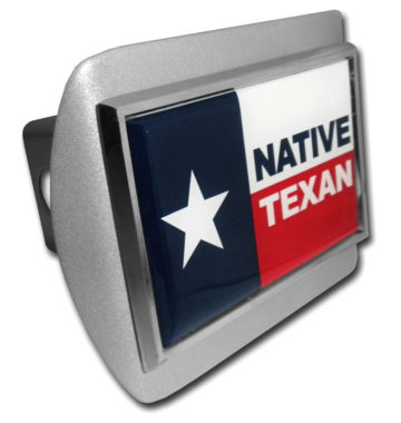 Native Texan Flag Emblem on Brushed Hitch Cover