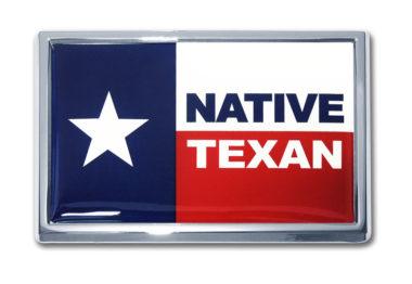 Native Texan Flag Chrome Emblem