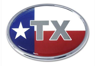 Texas Flag Oval Chrome Emblem