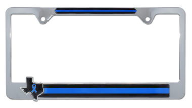 Texas Police Flag Chrome License Plate Frame image