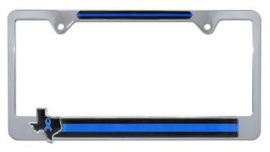 Texas Police Flag Chrome License Plate Frame image