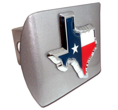 State of Texas Flag Emblem on Brushed Hitch Cover
