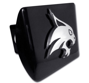 Texas State University Bobcat Emblem on Black Hitch Cover