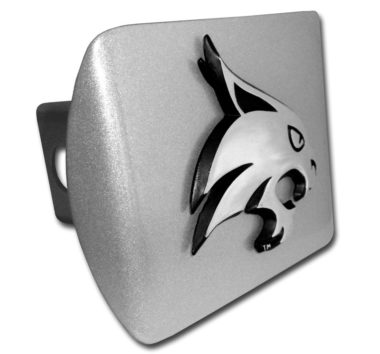 Texas State University Bobcat Emblem on Brushed Hitch Cover