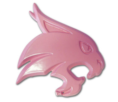 Texas State University Bobcat Pink Powder-Coated Emblem