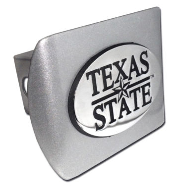 Texas State University Emblem on Brushed Hitch Cover