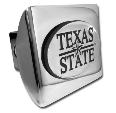 Texas State University Emblem on Chrome Hitch Cover