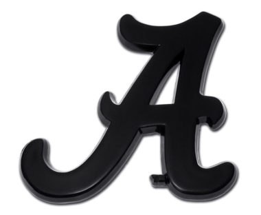 Alabama A Black Powder-Coated Emblem