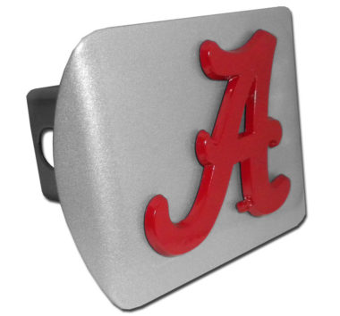 Alabama A Red Powder-Coated on Brushed Hitch Cover