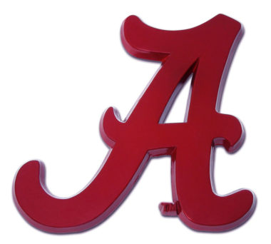 Alabama A Red Powder-Coated Emblem