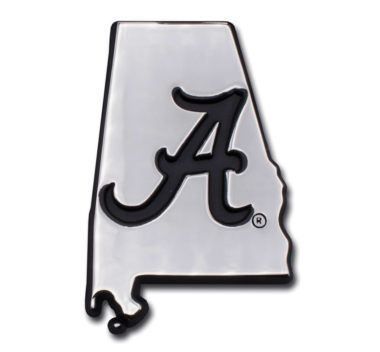 Alabama Black State Shape Chrome Emblem