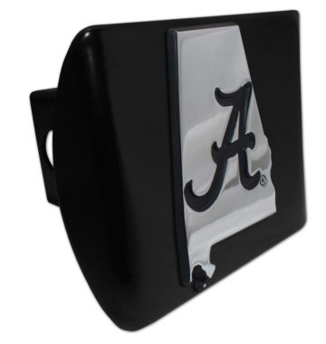 Alabama Black State Shape on Black Hitch Cover