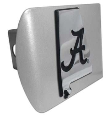 Alabama Black State Shape on Brushed Hitch Cover