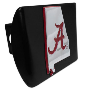 Alabama Red State Shape on Black Hitch Cover