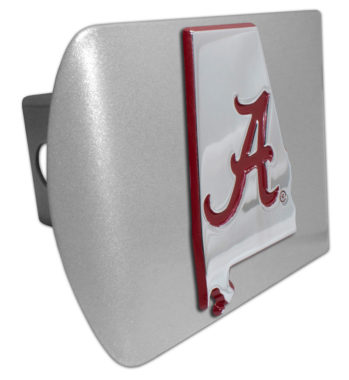 Alabama Red State Shape on Brushed Hitch Cover